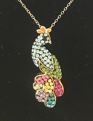 New Sterling Silver Peacock Pendant -Multicolored Swarovski Crystals