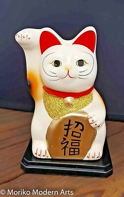 Japanese-Lucky-Cat-Maneki-Neko-Beckoning-Ceramic-GOOD-FORTUNE-SUCCESS