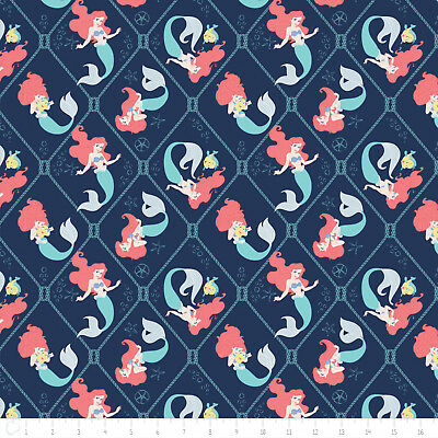 c3248a04684353 Disney Little Mermaid Ariel Nautical Net Navy 100% cotton fabric by the yard