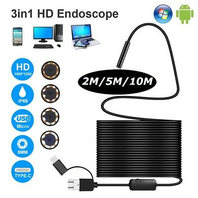 2018! Upgraded 1200P 3 in 1 Endoscope USB C Micro USB Inspection Camera 8LED HD