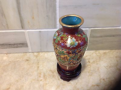minature Chinese cloissonne enameled vase