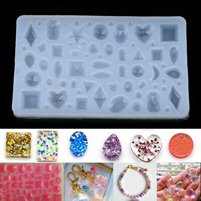 US Silicone DIY Pendant Mold Artificial Gem Diamond Jewelry Resin Making Mould