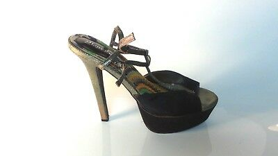 Women's, Black and Pewter Open Toe Sling Back Platform and Stiletto Heel Size 10