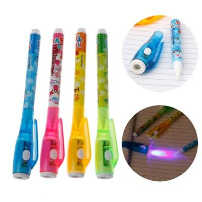 4Pc Invisible Ink Pen Spy Pen With Light Magic Marker Kid Pen for Secret Message