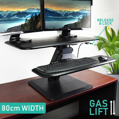 Height Adjustable Desk Sit Stand Up Riser Standing Desktop Computer Table