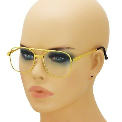00042c6479e7 Old School Retro Style Hip Hop Mens Womens Nerdy Clear Lens Gold Square  Glasses