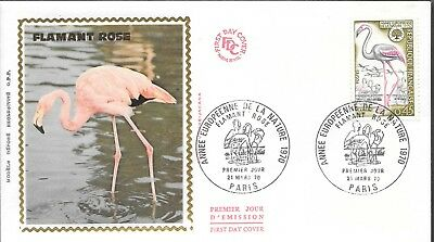 FR 118 France 1970 FLAMANT ROSE Silk  FDC  $4.00