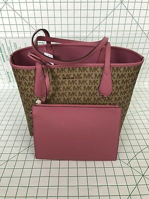 Michael Kors Candy Large Reversible Tote Brown Khaki Signature Tulip Pink  Pouch 61ef0550ab170