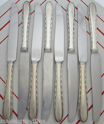 "Group Lot of 8 Vintage Towle Sterling Pat Silver Flutes 8-7/8"" Dinner Knives"