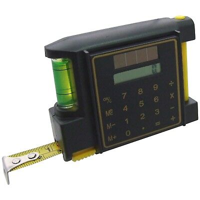 3m/10ft Measuring Tape with Spirit Level Calculator & Pencil Wide Blade 12.5mm