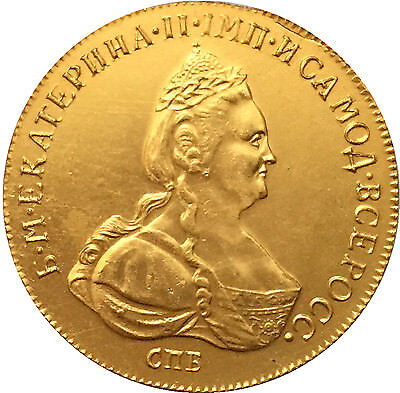 24-K Gold plated 1780 russia 10 Roubles Ekaterina  gold Coin copying