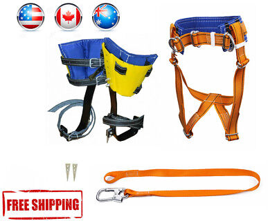 Tree Climbing Spike Set, Safety Belt With Straps, Adjustable Lanyard, Carabiner