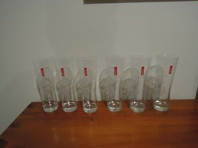 6 x Peroni Beer Etched Logo Red Tag Glasses
