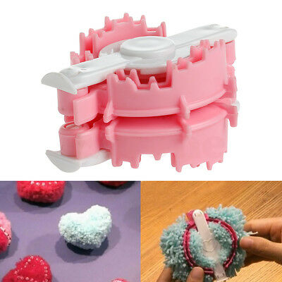 Heart Shaped Plush Pom Pom Maker Fluff Ball Weaver Needle Knitting Crafts 50mm