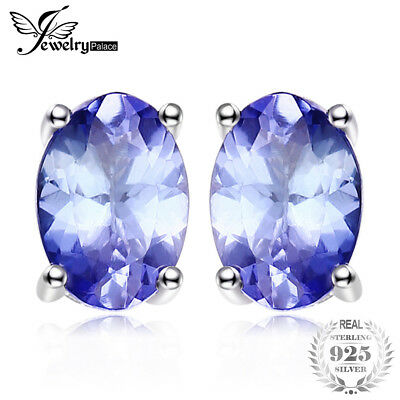 925 Silver 925 Sterling Silver 1ct Natural Tanzanite Stud Earrings Statement
