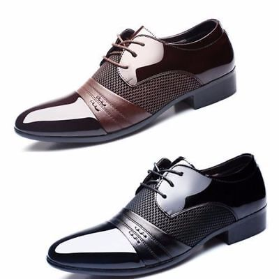 New men Lace Up Oxfords Mens Dress Tuxedo Formal Shoes Cap Toe Patent Leather