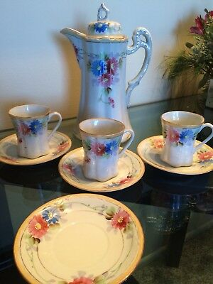 "RARE Vintage 10"" Hand Painted Floral Nippon Chocolate Cocoa Pot & Tea Cups SET"
