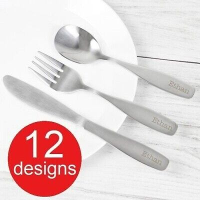 Engraved Children's 3 Piece Cutlery Set Personalised Boys & Girls - 12 Designs