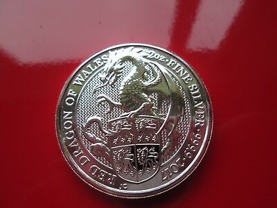 Queens Beasts Red Dragon of Wales 2017 £5 UK 2oz Ounce 999 Fine Silver
