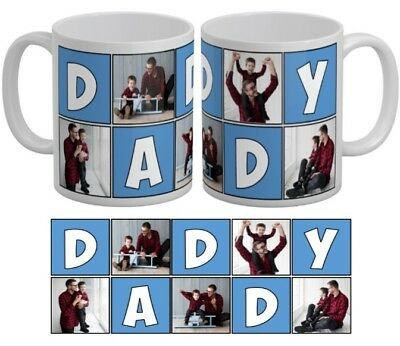 Personalised 5 Photo Mug Daddy Collage Family Gift Tea Coffee Cup Father Day New