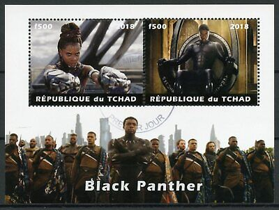 Chad 2018 CTO Black Panther 2v M/S Marvel Superheroes Film Movies Stamps