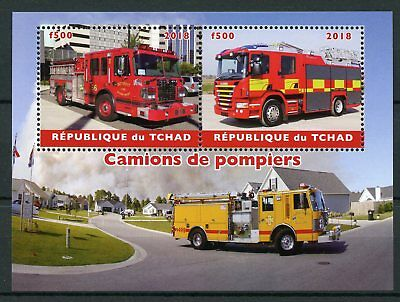 Chad 2018 MNH Fire Engines 2v M/S Camions de Pompiers Trucks Transport Stamps