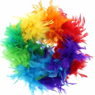 Feather Boa  High Quality Rainbow 80S Gatsby Gay Pride Flapper Uk