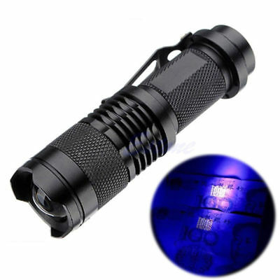High Power UV Lamp Purple Violet Light LED CREE Q5 Flashlight Torch Aluminum
