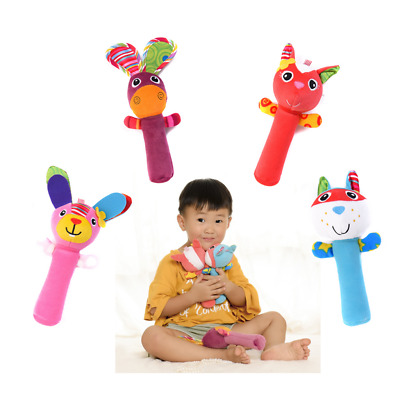 Soft Animal Handbells Plush Squeeze Rattle Toys For Newborn Baby Gifts FA