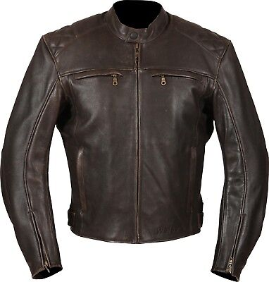 Weise Thruxton Mens Vintage Brown Leather Motorcycle Jacket New RRP £259.99!!