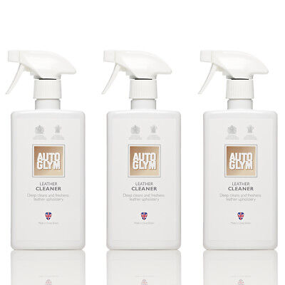 3x AutoGlym Leather Cleaner 500ml - Cleans Vehicle Seats