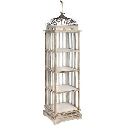Tall 134cm Antique White Wooden Large Birdcage Shelving Unit Floral Display