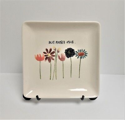 """Rae Dunn by Magenta Square Plate Tray - """"Best Mother Ever"""" Spring Flowers"""