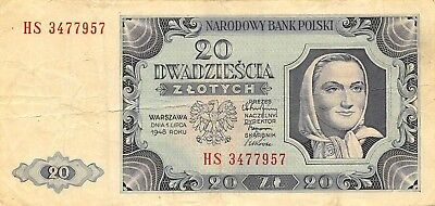 Poland  20  Zlotych  1.7.1948  P 137  Series  HS  Circulated Banknote WKR