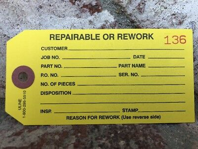 Uline Yellow Repair Inspection Work Numbered Tags S-929Y Warehouse Parts Etc...