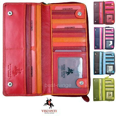Visconti Ladies Soft Leather Purse XL Multi Colours Wallet Quality New RB55