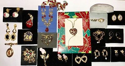 Vintage Avon Lot of 20 Gold Tone Pins, Earrings, Necklaces, & Rings