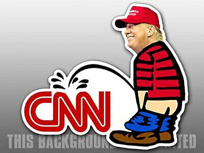 3x5 inch  Trump Pissing CNN Shaped Sticker - funny peeing political president