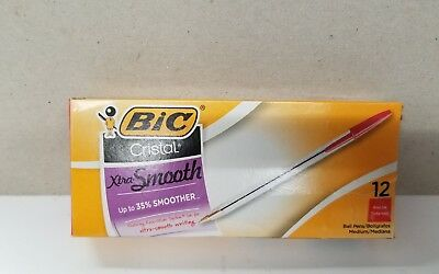 BIC Cristal Xtra Smooth Ball Pen, Medium Point 1.0 mm, RED, 12-Count
