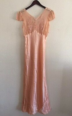 VTG 1930s Satin Bias Slip Nightgown Peach Sheer Embroidered Satin Buttons S