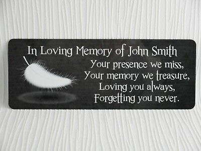 Personalised Memorial Plaque Name WEATHERPROOF Bench Grave Marker Loving memory