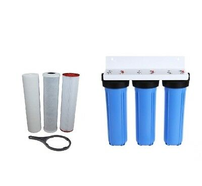 """Whole House Water Filter System 3 Stage 10"""" x 2.5""""  Carbon & Sediment Cartridges"""