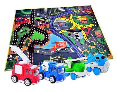 4 Play Vehicles with Large Playmat Set Die-Cast Pull Back and Friction Powered