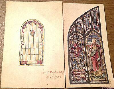 Two RARE c1880s Leo P. Frohe Buffalo Stained Glass Works Hand Painted Studies