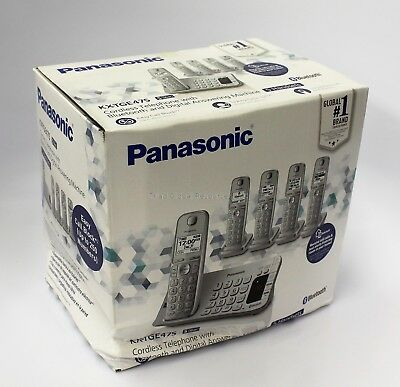 Panasonic KX-TGE475S Link2Cell Bluetooth Cordless Phone with Answer 5 Headsets