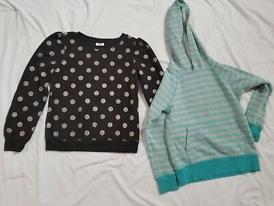 Girls 2 Piece Sweatshirts Size 7,Blk with silver Polk dots, Blue and Grey stripe