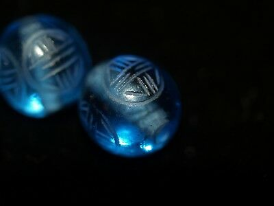 One Vintage Carved Chinese Blue Peking Glass Round Bead Shou Design 12mm