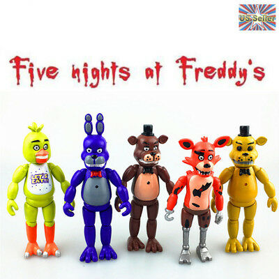 "5Pcs FNAF Chica Bonnie Five Nights at Freddy's 6"" Action Figures With Light Toys"