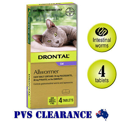 Drontal Allwormer Purple for Cats Up To 4 kg -  Cat Wormer - 4-Pack
