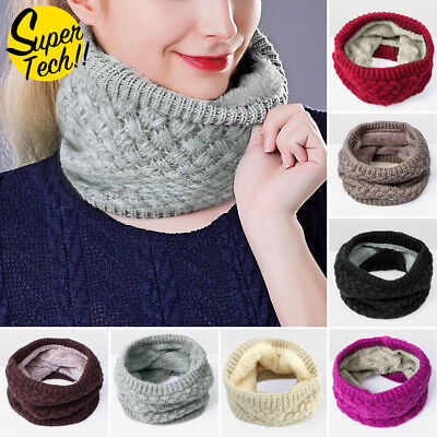 Winter Fleece Snood Scarf Wool Knit Thickened Neck Warmer For Child/Adult/Unisex
